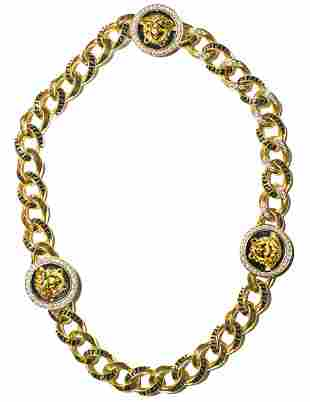 VERSACE 18KT YELLOW GOLD, DIAMOND, AND ENAMEL NECKLACE
