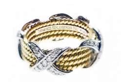 TIFFANY & CO. SCHLUMBERGER 18KT GOLD AND DIAMOND RING
