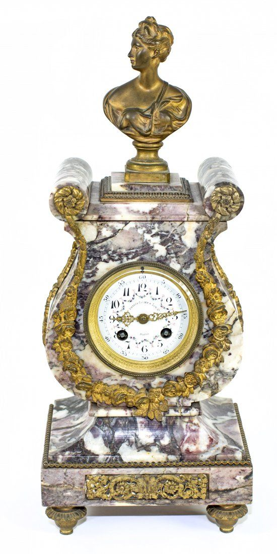 LOUIS XV STYLE GILT-BRONZE MOUNTED MARBLE MANTLE CLOCK
