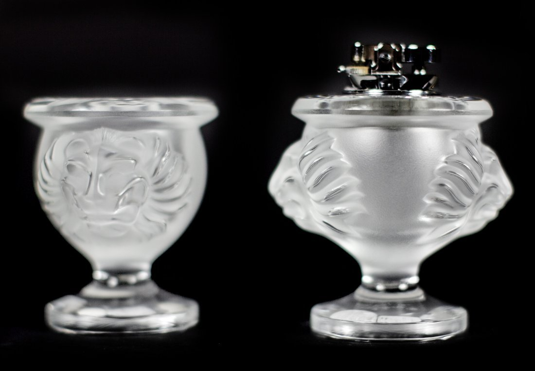 LALIQUE 3PC CLEAR & FROSTED CRYSTAL LIONS CIGARETTE SET
