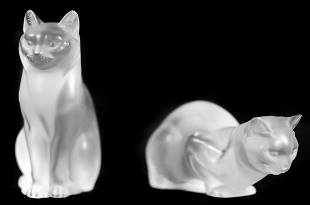 TWO LALIQUE CLEAR AND FROSTED CRYSTAL CAT FIGURES