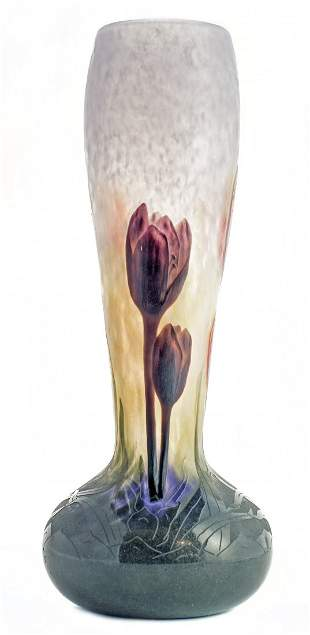 DAUM WHEEL-CARVED CAMEO AND MARTELE GLASS VASE