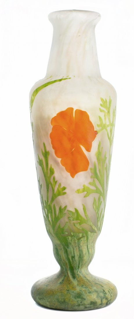 DAUM WHEEL-CARVED AND MOTTLED CAMEO GLASS VASE