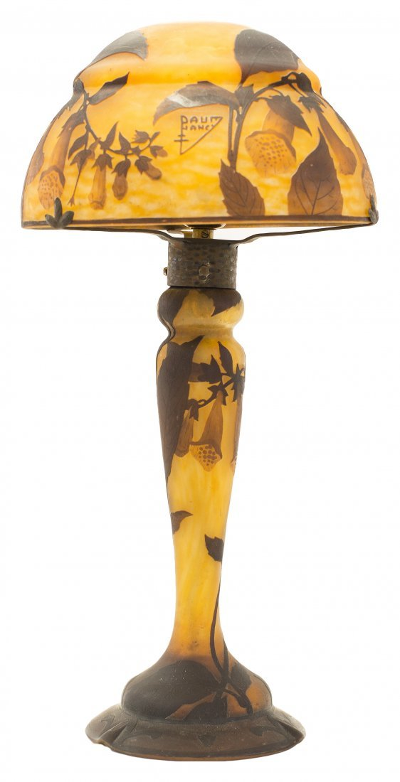 DAUM CAMEO GLASS AND WROUGHT IRON TABLE LAMP