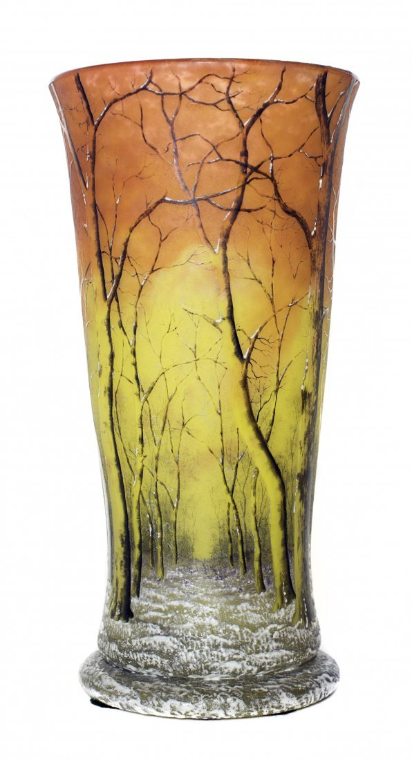 LARGE DAUM ACID-ETCHED AND ENAMELED CAMEO GLASS VASE