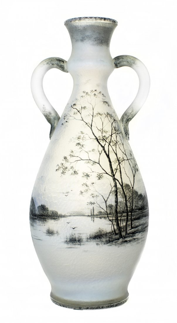 DAUM ENAMELED OPALESCENT TWO HANDLED GLASS VASE