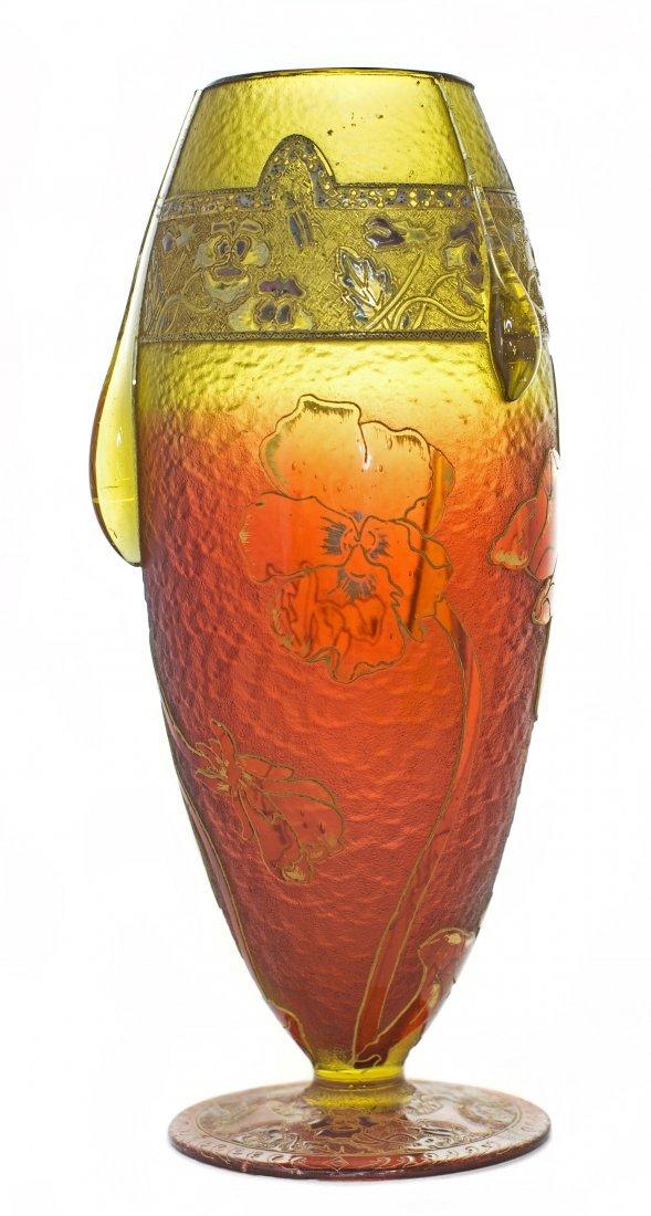 DAUM ENAMELED, APPLIED & PARCEL-GILT CAMEO GLASS VASE