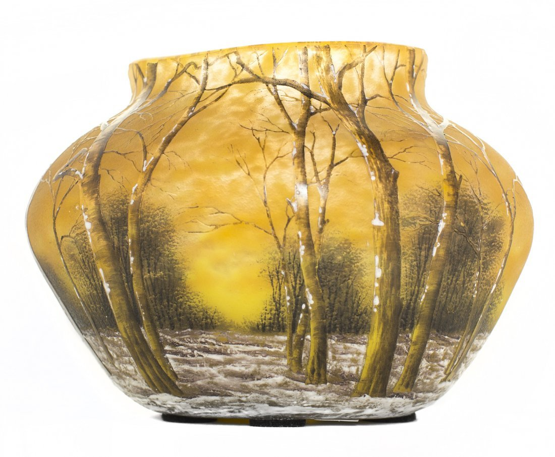DAUM ACID-ETCHED AND ENAMELED CAMEO GLASS WINTER VASE