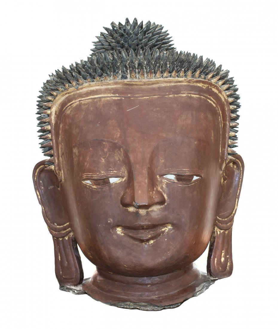 11: BURMESE LACQUERED HEAD OF BUDDHA