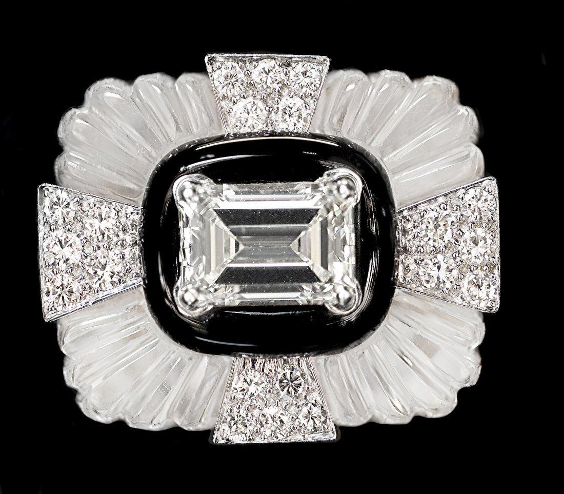 FINE DAVID WEBB PLATINUM, DIAMOND AND ROCK CRYSTAL RING - 2