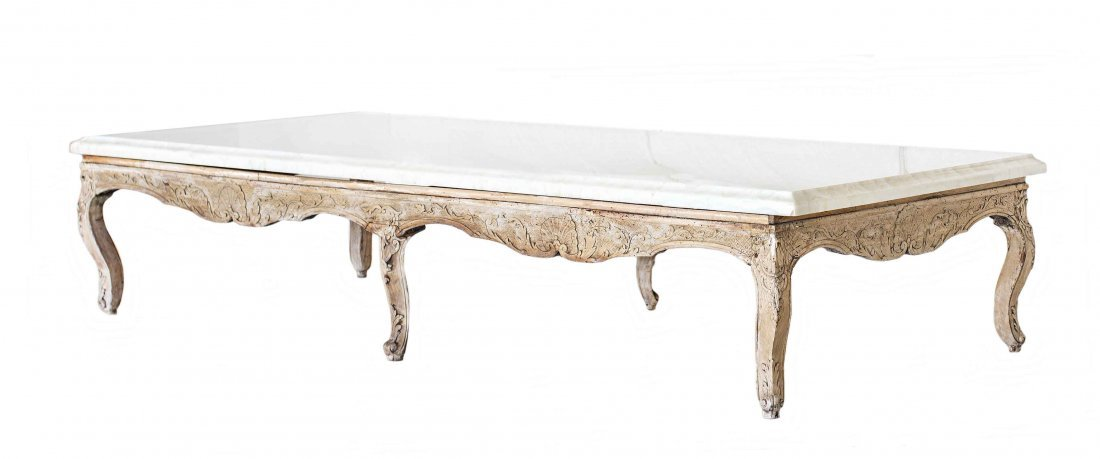 PROVINCIAL CARVED WOOD AND MARBLE TOP LOW TABLE