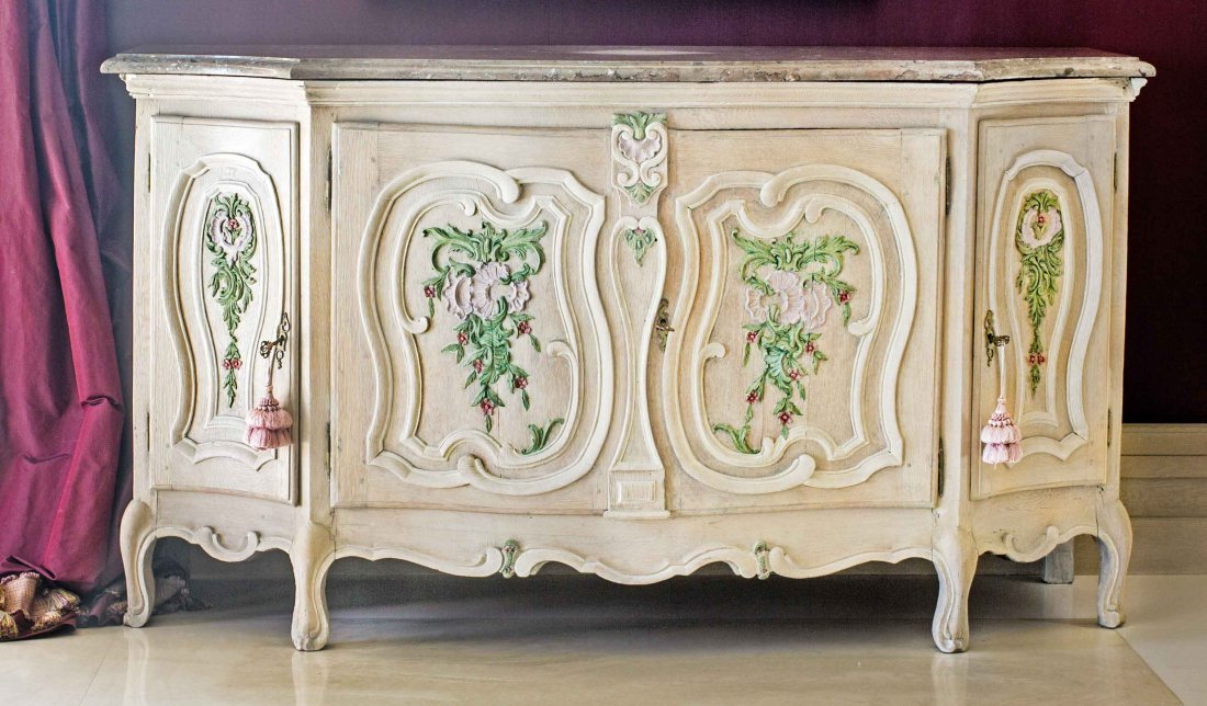 FRENCH CARVED AND PAINTED PROVINCIAL BUFFET