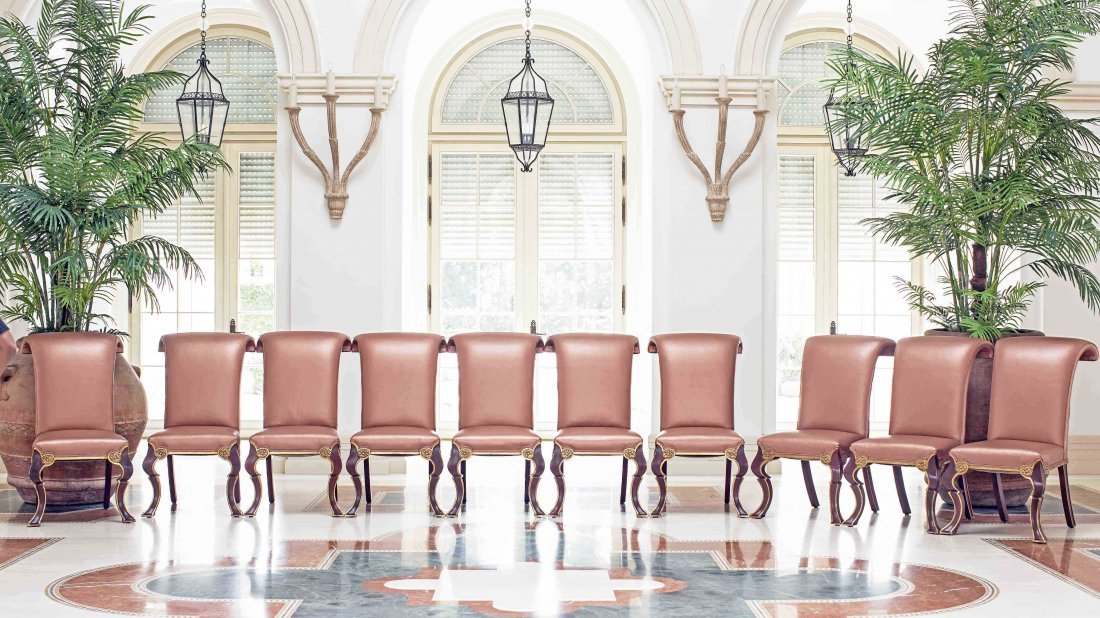 SET OF TEN UPHOLSTERED DINING CHAIRS