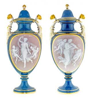 PAIR MEISSEN BLUE GROUND PORCELAIN VASES AND COVERS