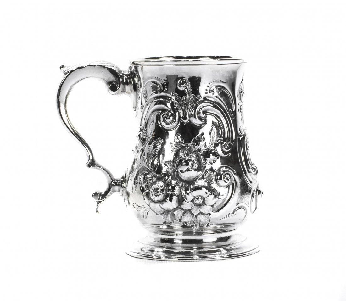 ENGLISH GEORGE III SILVER MUG , 18th CENTURY