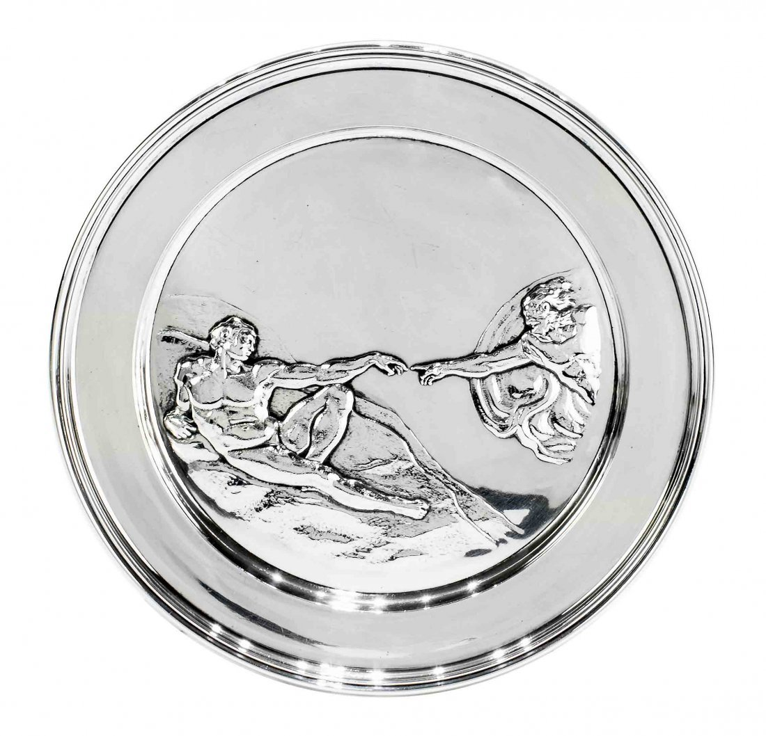 ENGLISH SILVER SCULPTURED PLATE