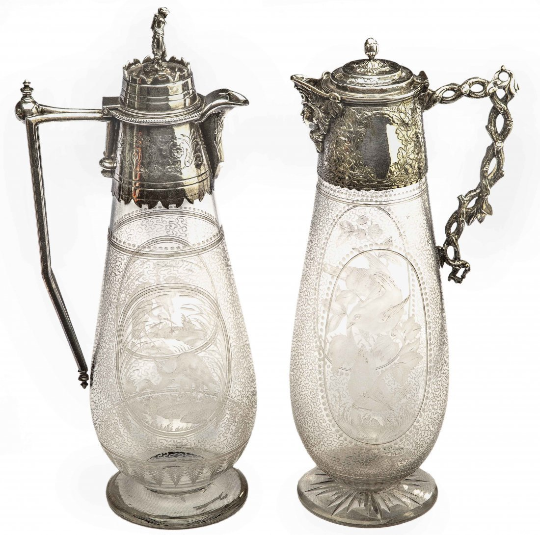 TWO VICTORIAN SILVER-PLATE ENGRAVED CLEAR GLASS CLARET