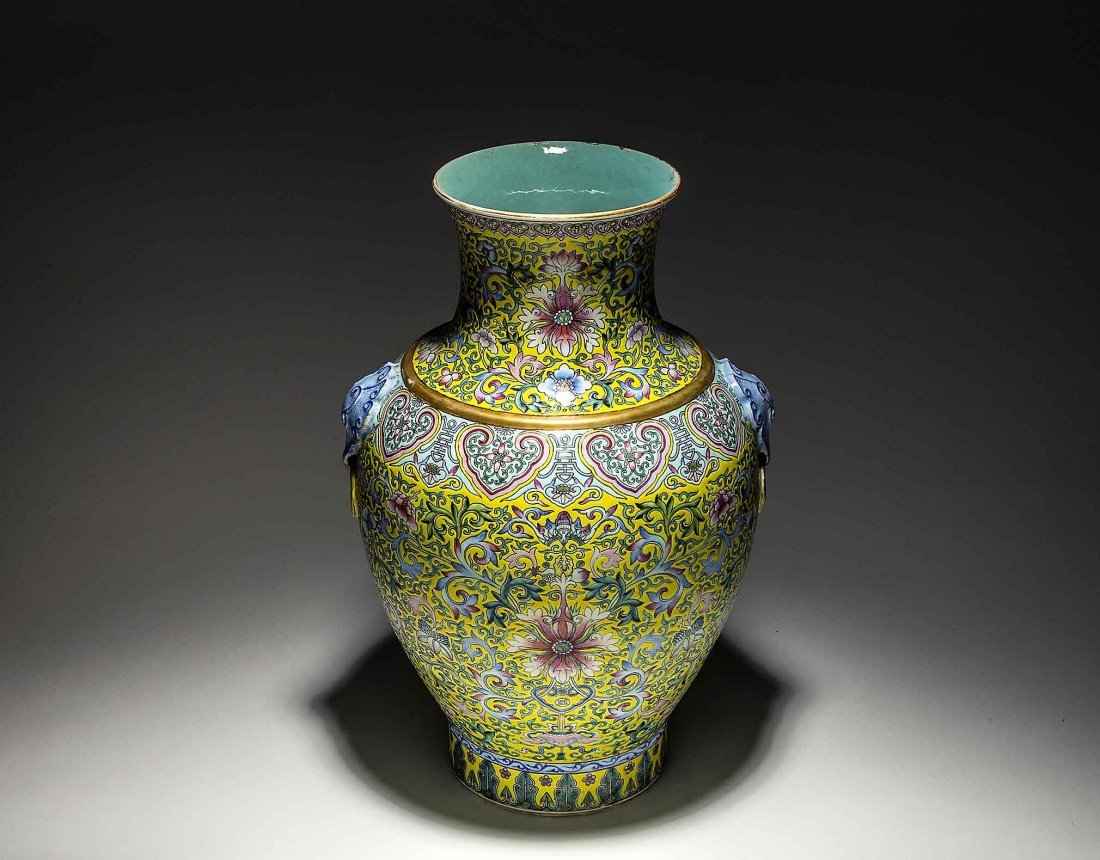 CHINESE FAMILLE VERTE YELLOW GROUND PORCELAIN VASE