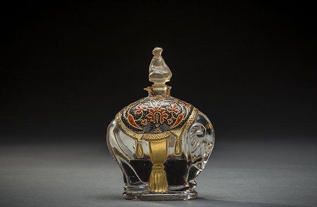 FRH MOLDED ELEPHANT GLASS PERFUME BOTTLE, LUBIN, KISMET