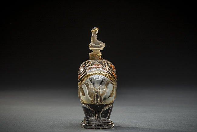 FRH MOLDED ELEPHANT GLASS PERFUME BOTTLE, LUBIN, KISMET - 4