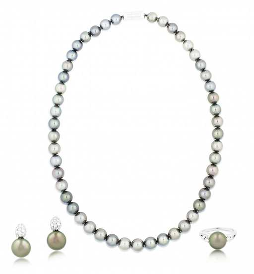 MIKIMOTO,PEARL AND DIAMOND NECKLACE, RING AND EARRINGS