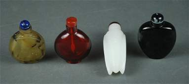 FOUR CHINESE ASSORTED SNUFF BOTTLES