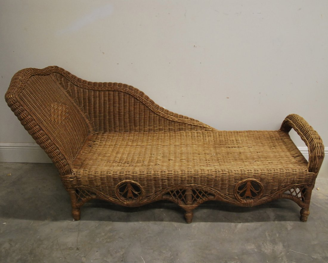french woven wicker chaise lounge