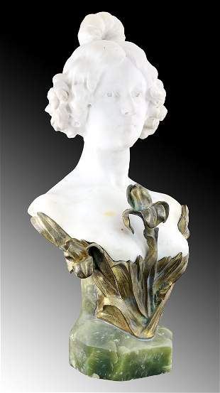 A. GORY: ONYX, MARBLE & BRONZE BUST OF A MAIDEN, 1890