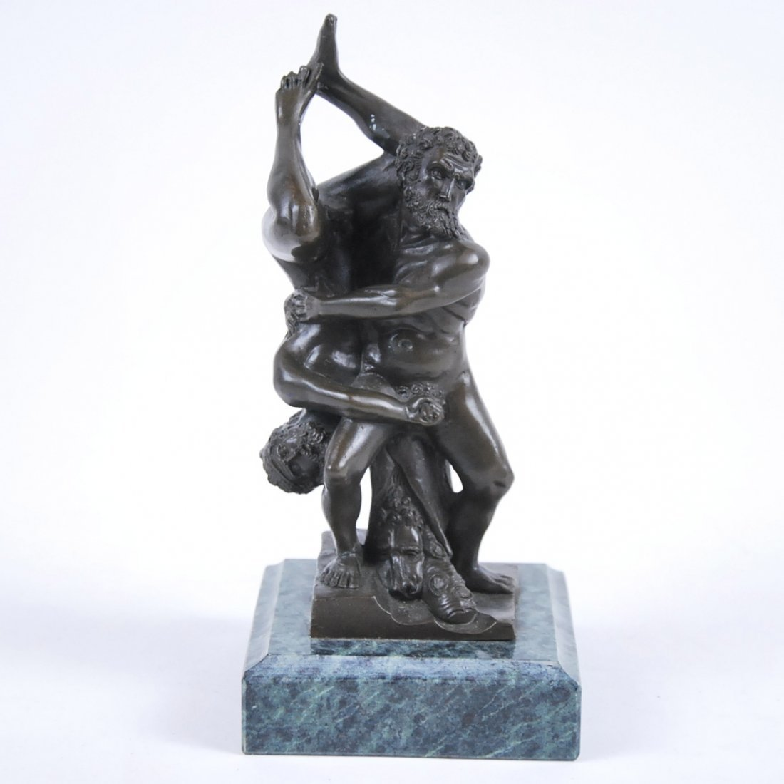 PATINATED BRONZE OF HERCULES WRESTLING WITH ANTAEUS