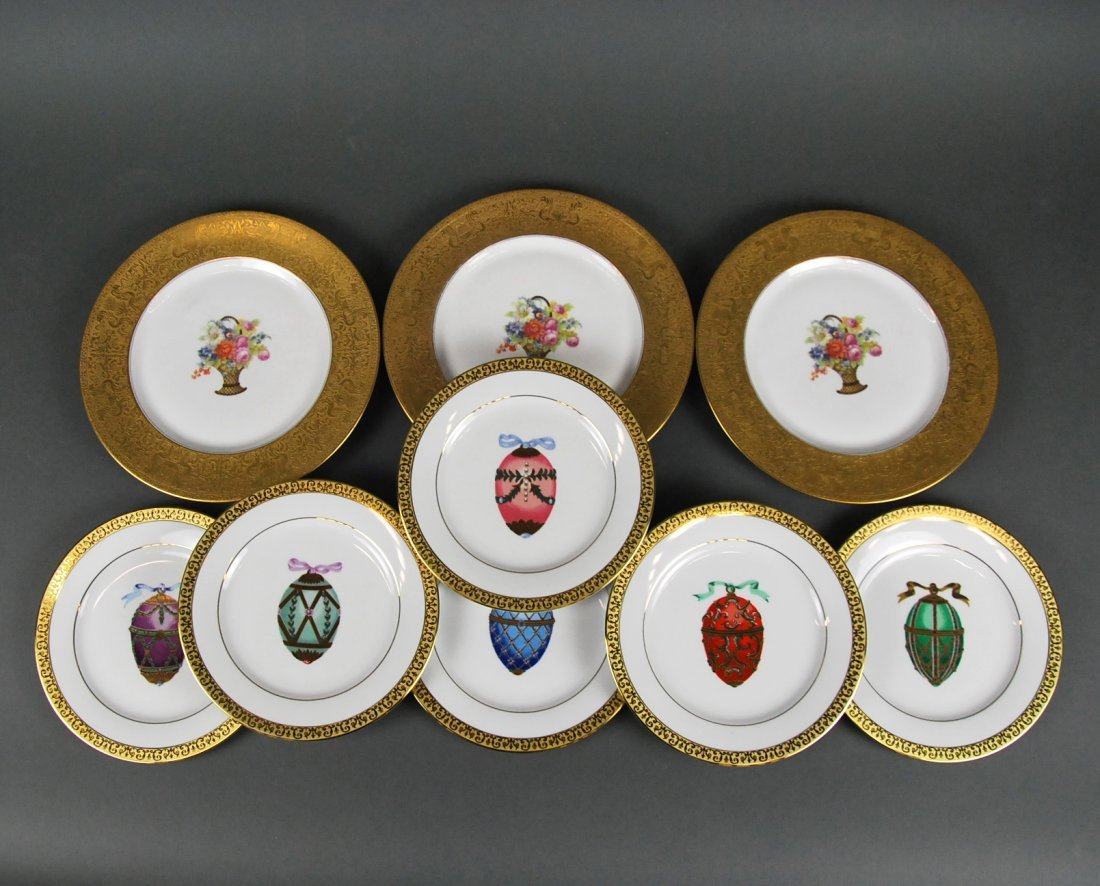 5 FLORAL & 8 EASTER EGG PAINTED PORCELAIN PLATES