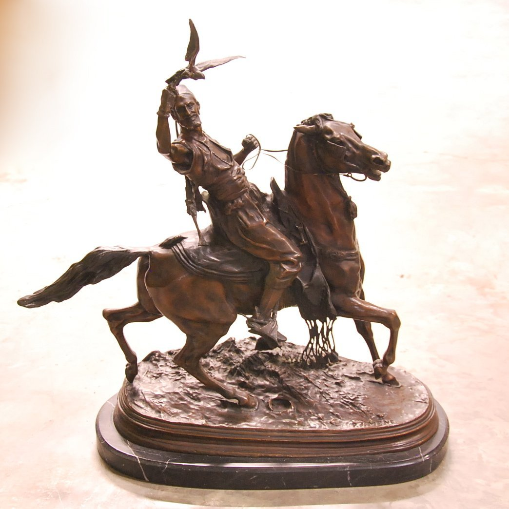 P.J. MENE, AFTER,  BRONZE, ARAB ON HORSEBACK