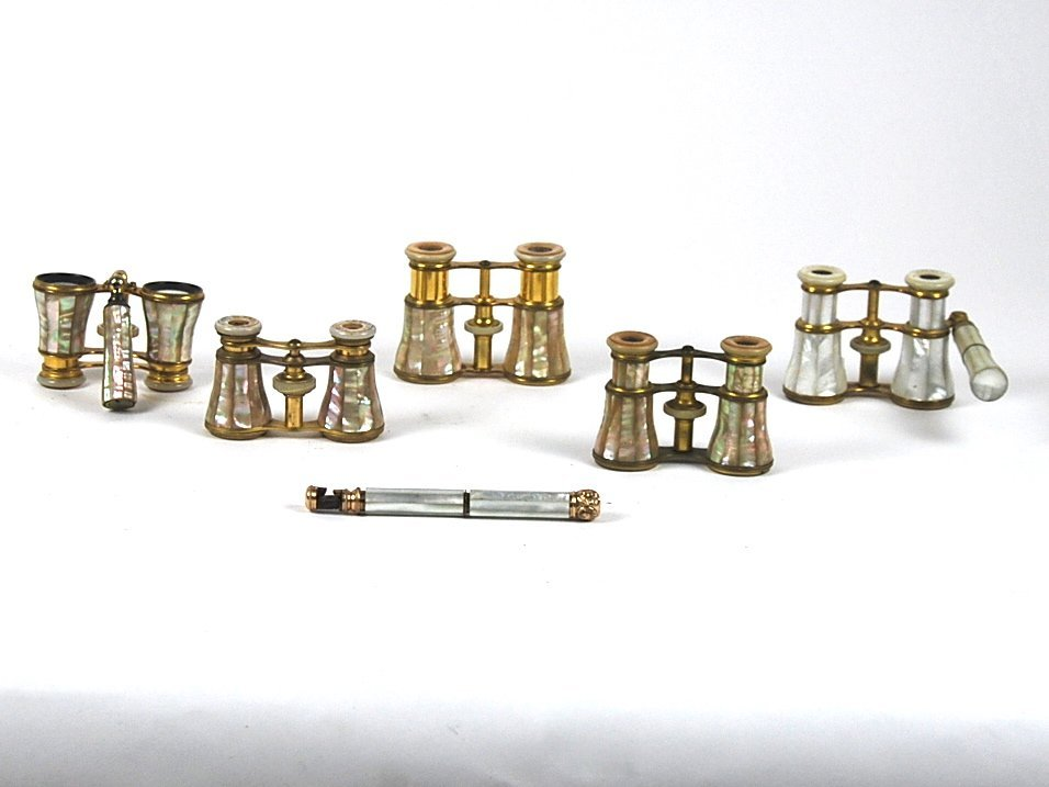 5 FRENCH BRASS & MOTHER OF PEARL OPERA GLASSES, 19 C