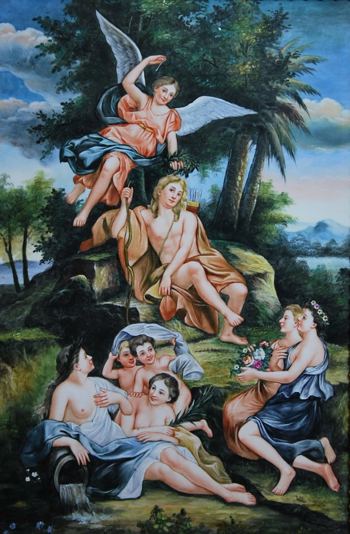 PAINTED MYTHOLOGICAL PORCELAIN PLAQUE, BEARING KPM