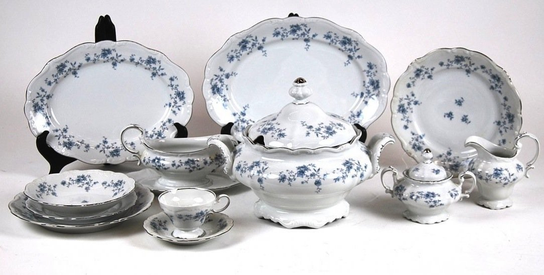 GERMAN FLORAL PORCELAIN DINNER SERVICE