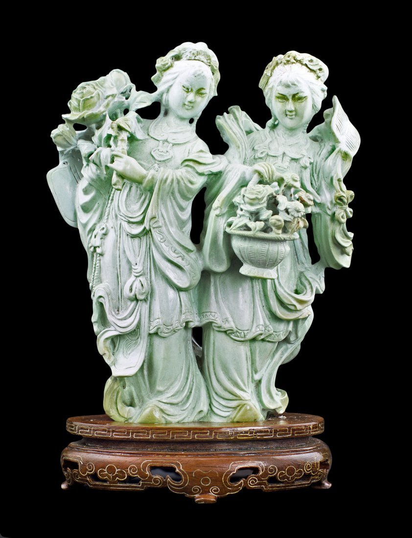 1335-267 CHINESE CARVED TURQUOISE GROUP OF TWO BEAUTIES