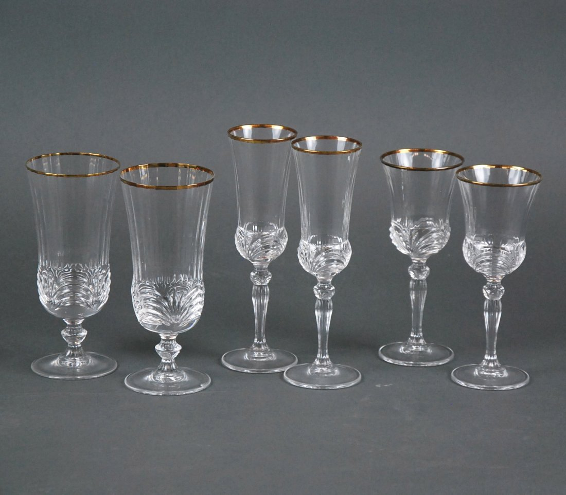 CUT GLASS STEMWARE SERVICE WITH GILT EDGE