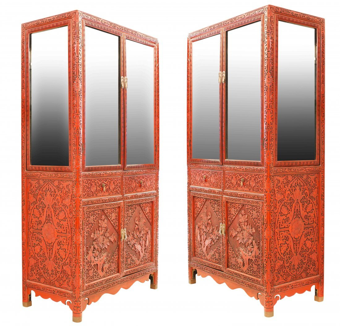 PAIR OF CHINESE CARVED CINNABAR LACQUER CABINETS