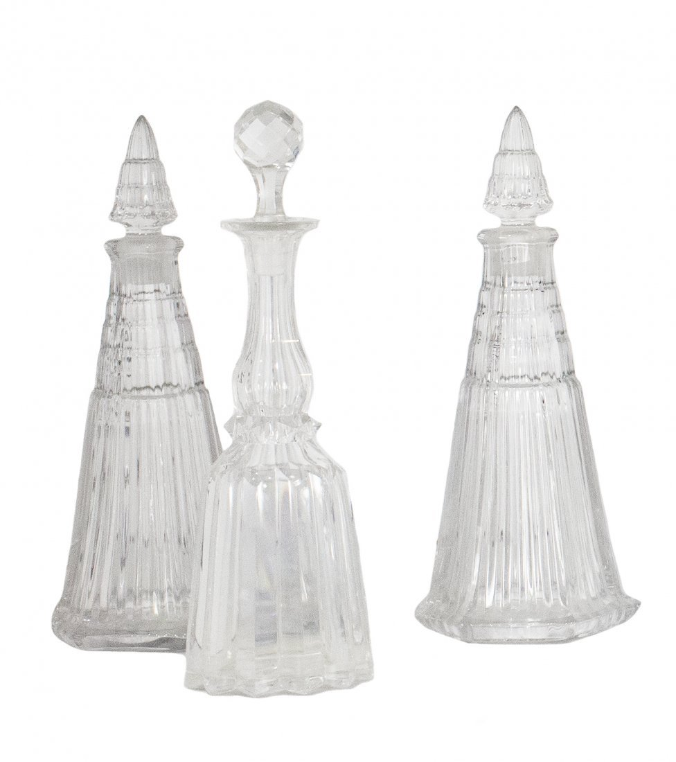 3 ANTIQUE GLASS DECANTERS WITH STOPPERS, 20TH CENTURY