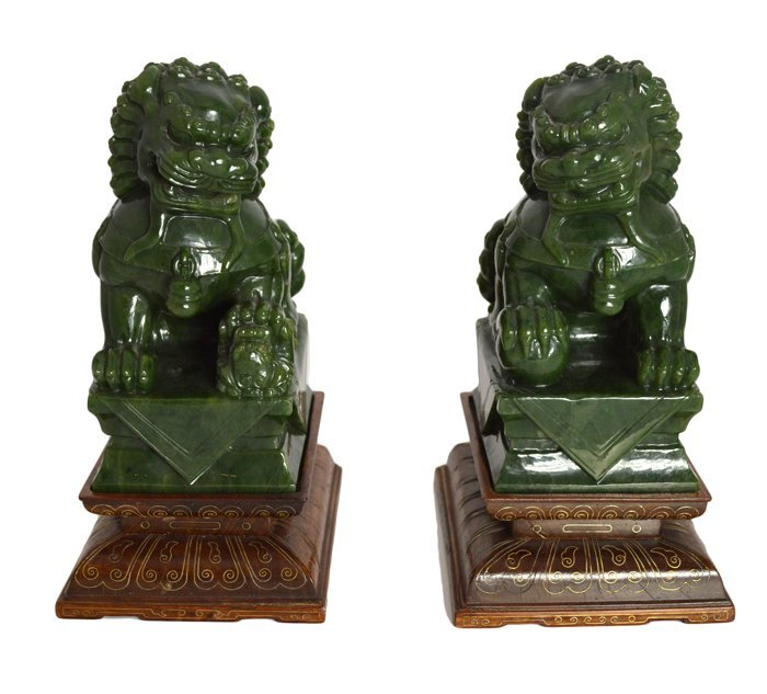 FINE PAIR OF SPINACH GREEN JADE FOO DOGS, CHINESE