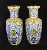 LARGE PAIR OF CLOISONNE ENAMEL VASES  CHINESE