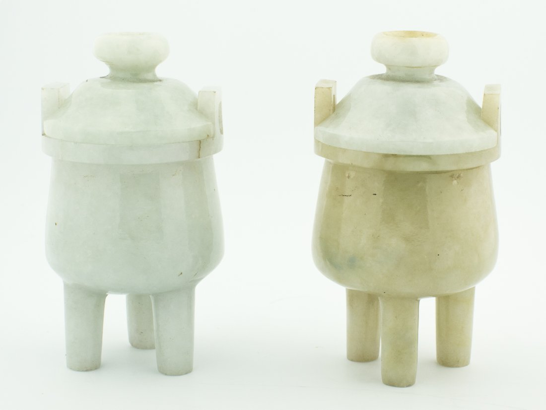 PAIR OF LIGHT LAVENDER JADE VASES AND COVERS, CHINESE