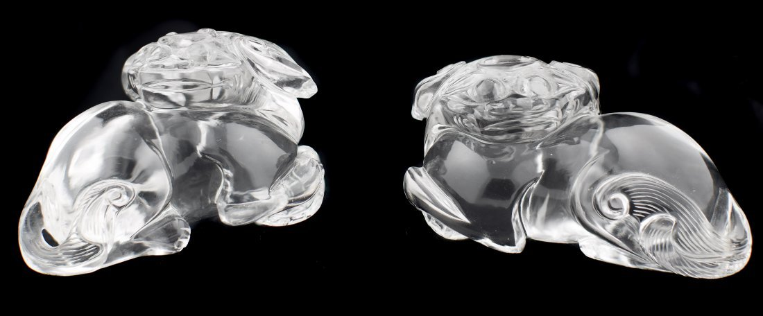A PAIR OF ROCK CRYSTAL FOO LIONS,  CHINESE