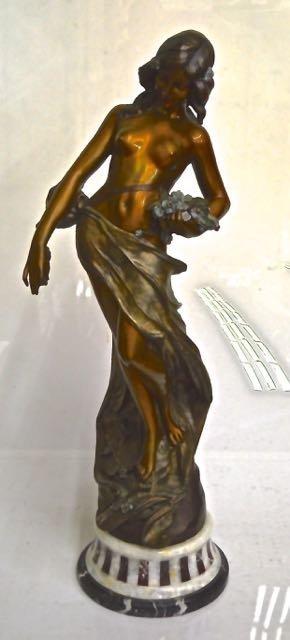 ART NOUVEAU STYLE MARBLE & PATINATED BRONZE FEMALE