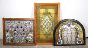 3 AMERICAN LEADED STAINED JEWELED GLASS WINDOW PANELS