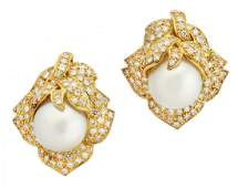 PAIR OF CULTURED PEARL AND DIAMOND EAR CLIPS