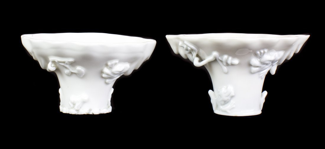 TWO CHINESE 'BLANC-DE-CHINE' PORCELAIN LIBATION CUPS