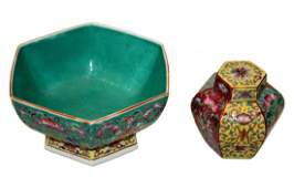 TWO PIECES PORCELAIN BOWL AND JAR, CHINESE