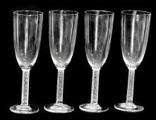 LALIQUE FRANCE FOUR CRYSTAL CHAMPAGNE FLUTES