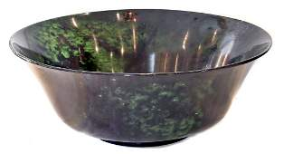 LARGE SERPENTINE SPINACH GREEN BOWL, CHINESE