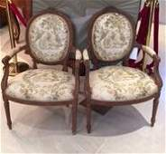 PAIR OF LOUIS XVI STYLE WOOD ARMCHAIRS